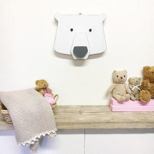 Testa di orso in legno colorato a scelta da appendere a parete