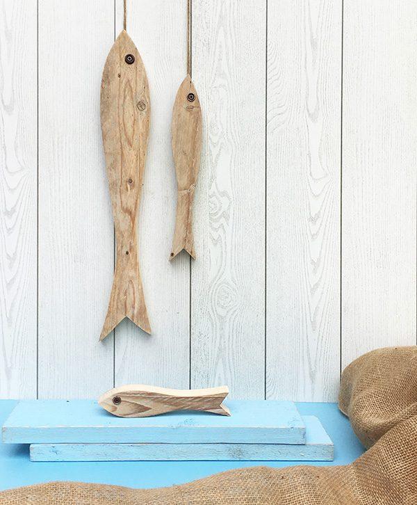 Acciughe da appendere in legno di recupero naturale o dipinto