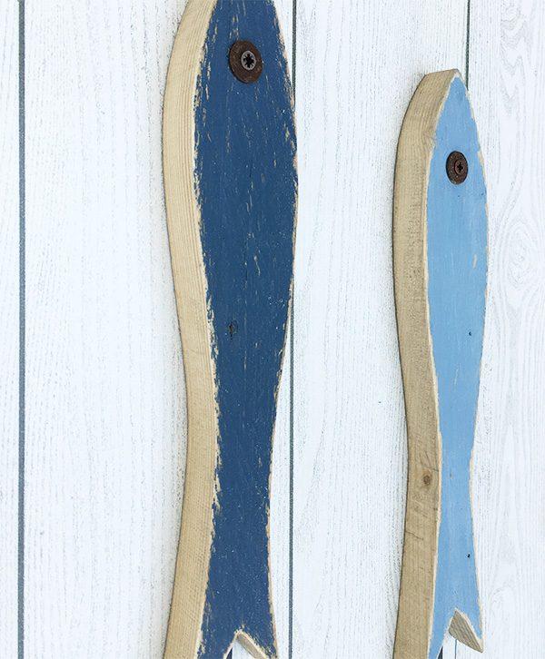 Acciughe in legno di recupero con gancio appendiabiti