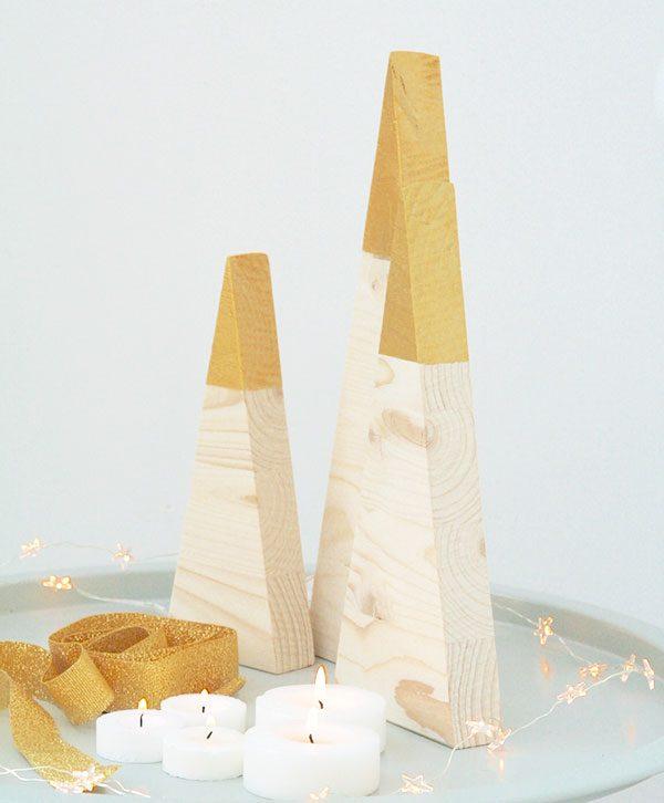 Abeti natalizi in legno di betulla con punta oro