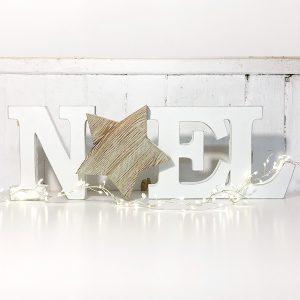 Scritta Noel con stella in legno di recupero in un pezzo unico