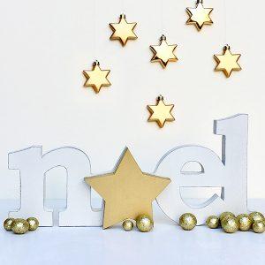 Scritta Noel con stella in legno in un pezzo unico