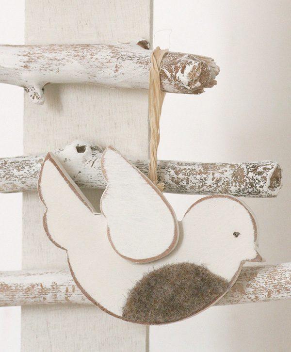 Pettirosso in legno per decorare l'albero di Natale