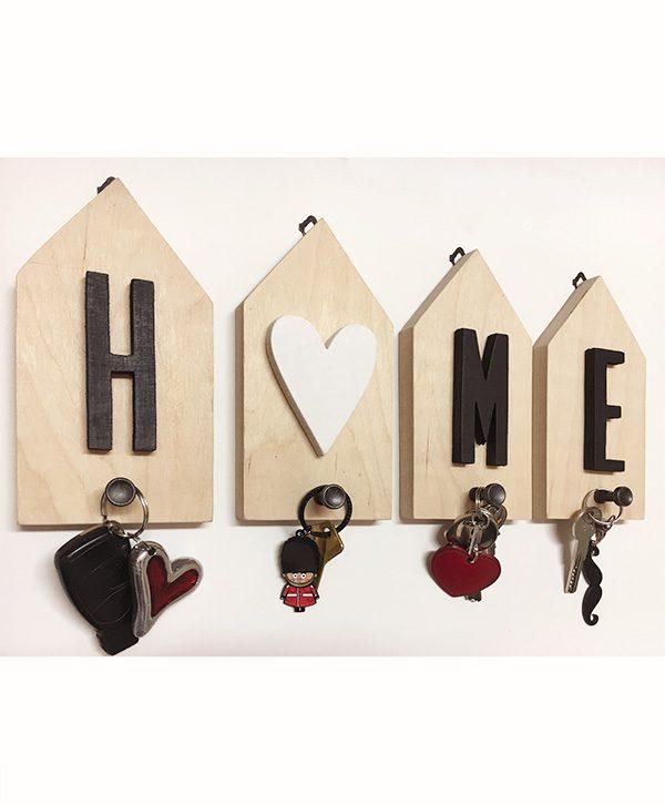 Casette portachiavi home in legno con pomolo