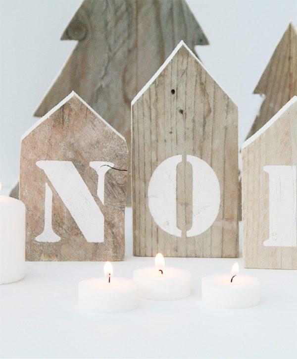 Casette in legno di recupero con scritta Noel in colore a scelta