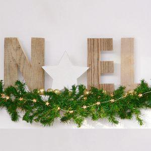 Scritta Noel in legno di recupero con stella, dimensione e colore a scelta