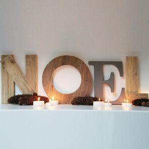 Scritta Noel in legno di recupero in legno di recupero fatta a mano