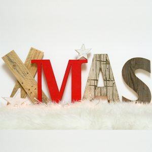 Scritta a scelta in legno di recupero per la casa di Natale