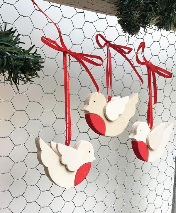 Decorazioni natalizie-Pettirossi di Natale in legno