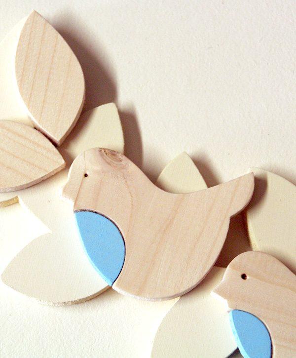 Uccellini in legno per ghirlanda personalizzabile da bambina