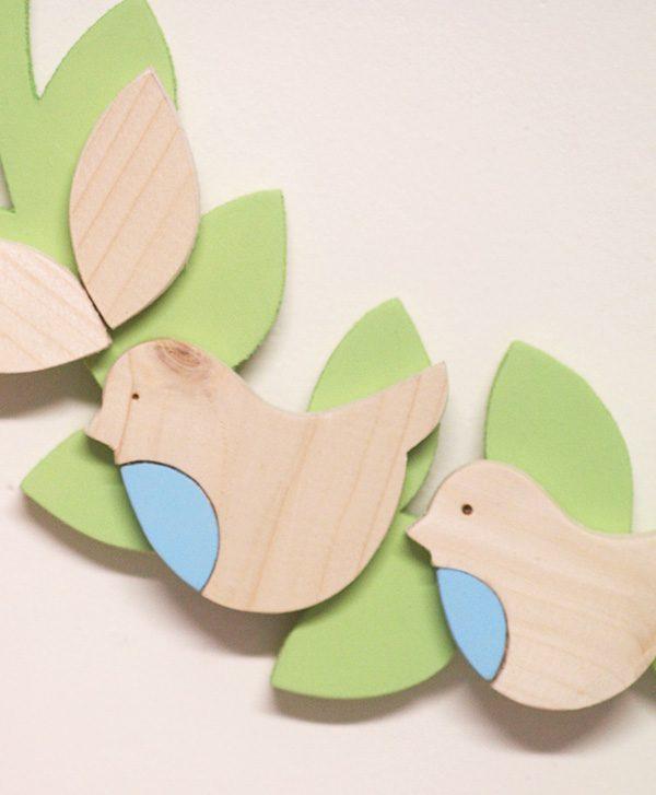 Pettirossi in legno per ghirlanda personalizzabile da bambina