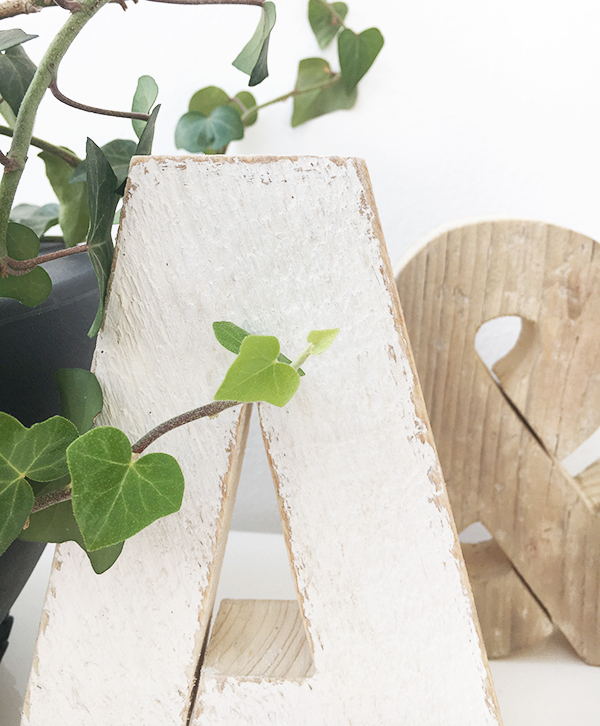 Iniziali in legno di recupero per la coppia di amici
