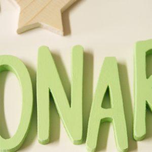 Lettere e stelle in legno per regalo del battesimo