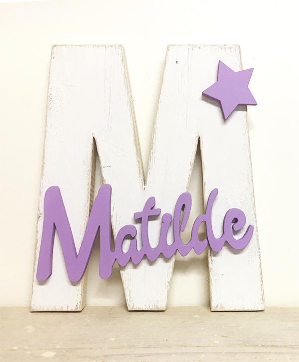 Iniziale in legno con nome bambina e decorazione personalizzabile