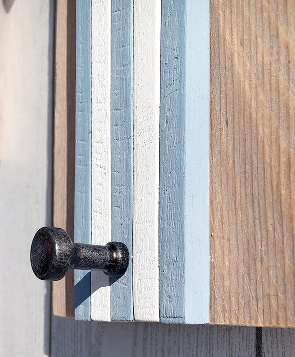 Appendiabiti per il mare in legno di recupero con pomolo