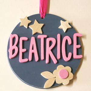 Quadretto con nome bambina e decorazioni per la cameretta dei bambini