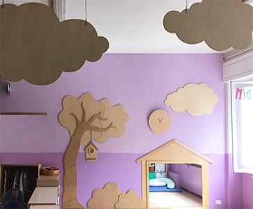 Spazio giochi in legno per scuola materna